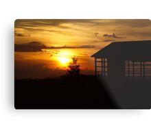 Sunset & Wood Metal Print