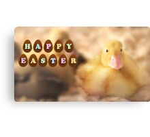 Happy Easter Greetings from Cute Duckling Canvas Print