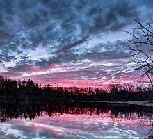 Dramatic Sunset Pond by Kenneth Keifer