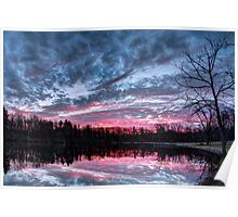 Dramatic Sunset Pond Poster