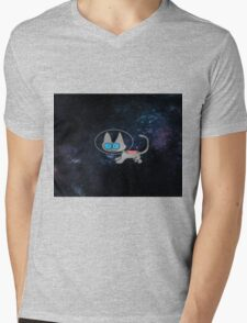 Blue Eyed Cat In Space Mens V-Neck T-Shirt