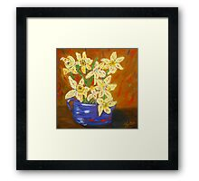 yellow daffodils, southwest art, home decor, original art Framed Print