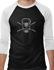Kettlebell Crossed Barbells (washed out) Men's Baseball ¾ T-Shirt