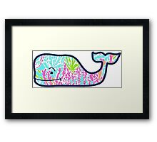 Vineyard Vines Lilly Pulitzer Coral Whale Framed Print