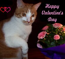Ginger Cat Valentine by Marie Sharp