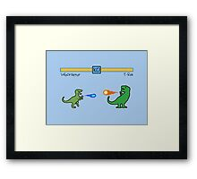 Dinosaur Fighter Game - Velociraptor vs T-Rex Framed Print
