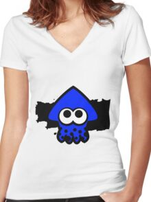 Splatoon Squid (Dark Blue) Women's Fitted V-Neck T-Shirt