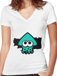 Splatoon Squid (Light Blue) Women's Fitted V-Neck T-Shirt