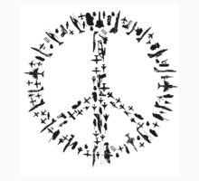 Peace sign Illustration - Guns and Weapon Kids Tee