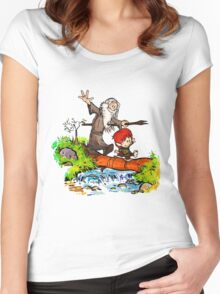 Gandalf and Bilbo calvin hobes Women's Fitted Scoop T-Shirt