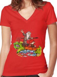 Gandalf and Bilbo calvin hobes Women's Fitted V-Neck T-Shirt