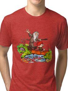 Gandalf and Bilbo calvin hobes Tri-blend T-Shirt