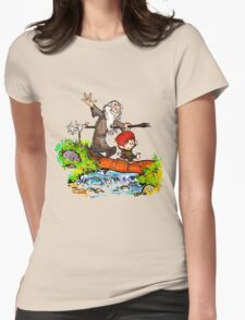 Gandalf and Bilbo calvin hobes Womens Fitted T-Shirt