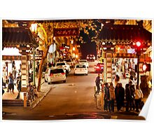 Entrance to Chinatown in San Francisco at Night Poster