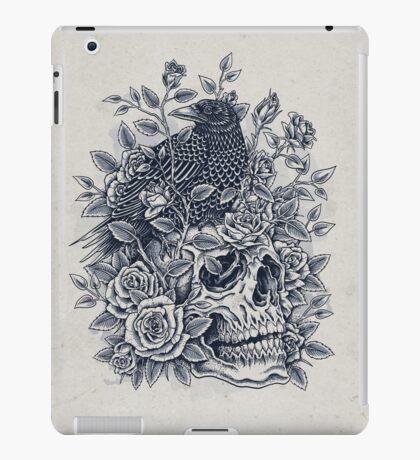 Monochrome Floral Skull iPad Case/Skin