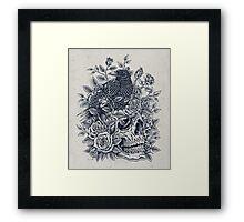 Monochrome Floral Skull Framed Print