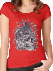Monochrome Floral Skull Women's Fitted Scoop T-Shirt