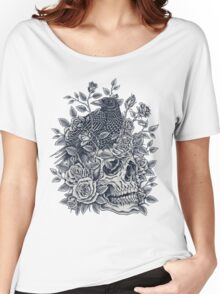Monochrome Floral Skull Women's Relaxed Fit T-Shirt