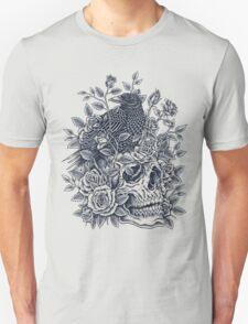 Monochrome Floral Skull T-Shirt