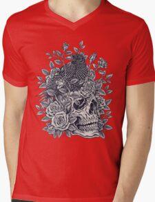 Monochrome Floral Skull Mens V-Neck T-Shirt