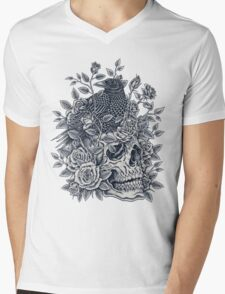 Monochrome Floral Skull Mens V-Neck T-Shirt