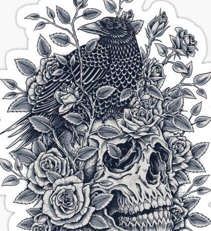 Monochrome Floral Skull Sticker