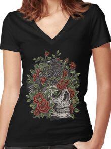 Floral Skull Women's Fitted V-Neck T-Shirt