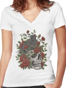 Floral Skull Women's Fitted V-Neck T-Shirt