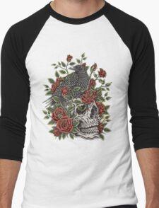 Floral Skull Men's Baseball ¾ T-Shirt