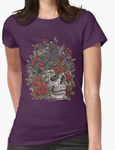 Floral Skull Womens Fitted T-Shirt