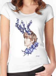 Blossoms Blue Women's Fitted Scoop T-Shirt