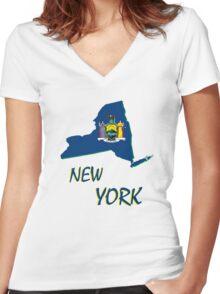 new york state flag Women's Fitted V-Neck T-Shirt