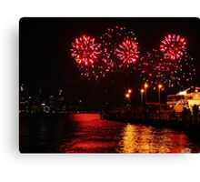 Bursts of Red - Perth Skyworks 2009 Canvas Print