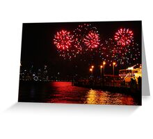 Bursts of Red - Perth Skyworks 2009 Greeting Card
