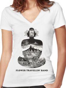 Flower Travellin Band Shirt! Women's Fitted V-Neck T-Shirt