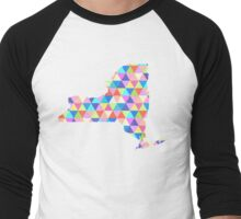 New York Colorful Triangles Hipster NY State Men's Baseball ¾ T-Shirt