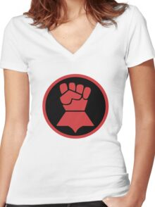 Crimson Fists Symbol Women's Fitted V-Neck T-Shirt