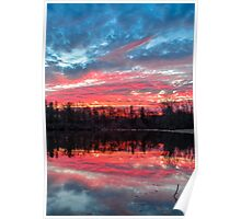 Pond at Sundown Poster
