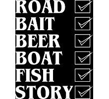 Road bait beer boat fish story Funny Geek Nerd Photographic Print