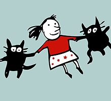 Happy Jumping Cats by Carla Martell