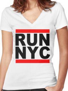 Run NYC Funny Geek Nerd Women's Fitted V-Neck T-Shirt