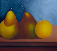 Two Pears and an Apple by QiQiGallery