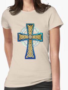 Big Blue Celtic Cross Womens Fitted T-Shirt
