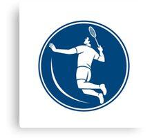 Badminton Player Jump Smash Circle Icon Canvas Print