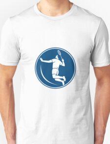Badminton Player Jump Smash Circle Icon T-Shirt