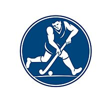 Field Hockey Player Running With Stick Icon Photographic Print
