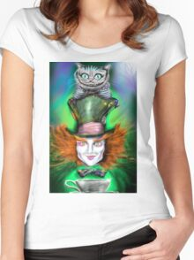 Cheshire Cat & Mad Hatter Alice in Wonderland Women's Fitted Scoop T-Shirt