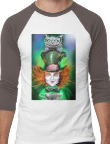 Cheshire Cat & Mad Hatter Alice in Wonderland Men's Baseball ¾ T-Shirt