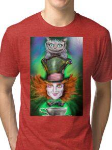 Cheshire Cat & Mad Hatter Alice in Wonderland Tri-blend T-Shirt