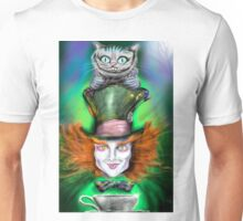 Cheshire Cat & Mad Hatter Alice in Wonderland Unisex T-Shirt